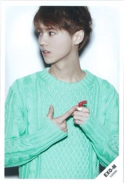 sweater blue mint asian exo luhan