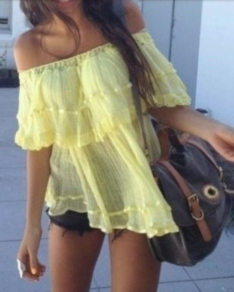 yellow shirt shirt yellow cute frill frilly shirt yellow off the shoulder top yellow off the shoulder shirt hipster pretty beautiful gypsy yellow top yellow, top, blouse, boho, black, frill, off the shoulder boho girly peasant top off the shoulder