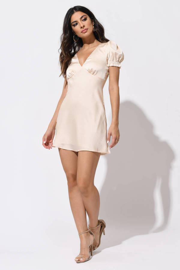 Count On It Champagne Satin A-Line Dress