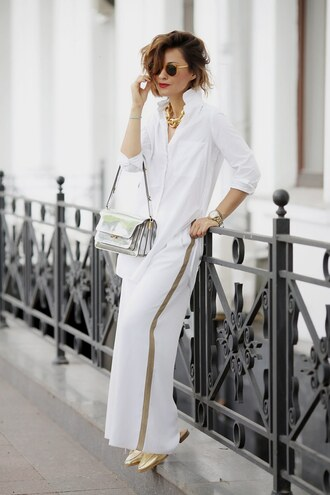 shoes tumblr mules gold shoes pants white pants side stripe pants shirt white shirt work outfits office outfits bag sunglasses