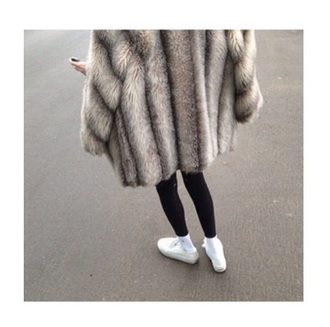 coat beige furry fluffy long coat oversized stripes fuzzy jacket