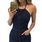 Women navy blue denim halter playsuits with pockets summer new lady club casual sleeveless halter neck romper one piece overalls-in rompers from women's clothing & accessories on aliexpress.com   alibaba group