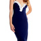 Dark blue spaghetti strap lace trim dress
