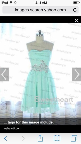 dress sweetheart neckline mint green dress with  jewels