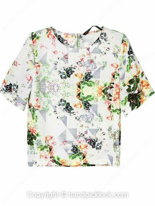 Multicolor Round Neck Short Sleeve Floral Print Blouse - HandpickLook.com