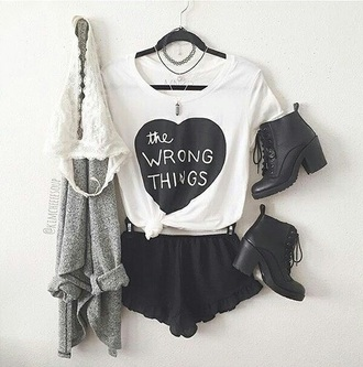 shirt crop tops heart black t shirt with words white