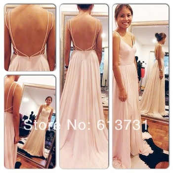 Aliexpress.com : buy sexy backless maxi dress spaghetti straps v neck pink open back prom dress 2014 chiffon evening dresses long w03 from reliable dress attire for weddings suppliers on suzhou babyonline dress store