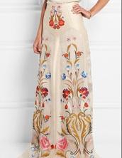 skirt,boho,bohemian,floral,style,white skirt,maxi skirt,boho chic,floral skirt,fashion,reign,vintage dress