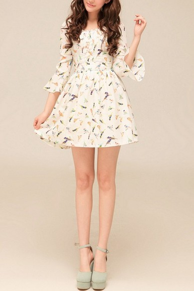 dress ivory chiffon shoes birds short dress girly