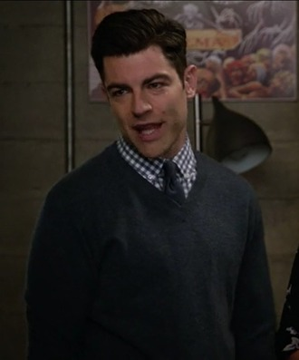 sweater max greenfield new girl schmidt tie plaid shirt menswear