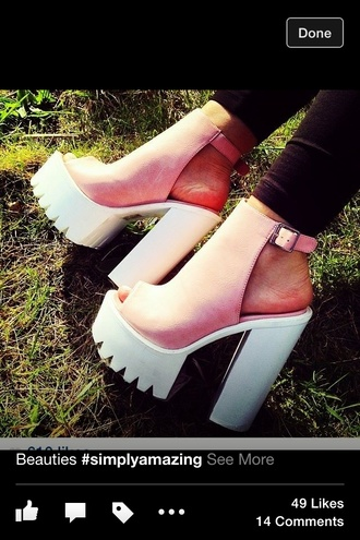 shoes pink chunky heels white high heels heel boots rubber sole high heels pink by victorias secret trendy shorts