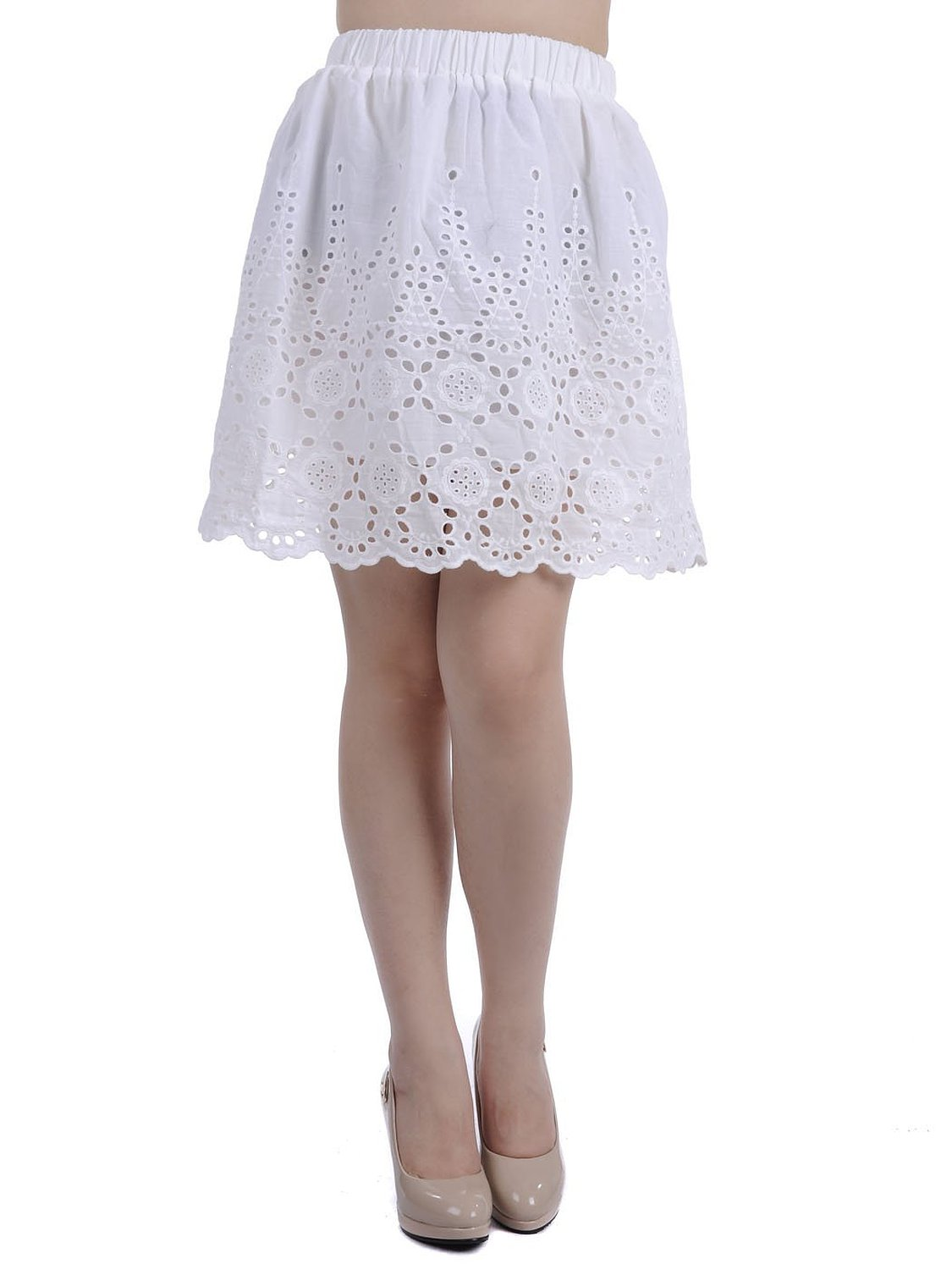 Kaci s/m fit white scallop hemline eyelet lace detail midi length skirt at amazon women's clothing store: