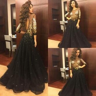 dress black dress gold gold sequins gold dress long sleeve dress long sleeves