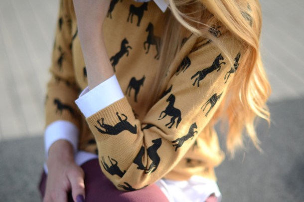 sweater horse black yellow gold