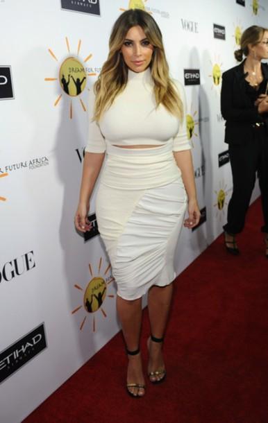 blouse kim kardashian white tight turtleneck skirt