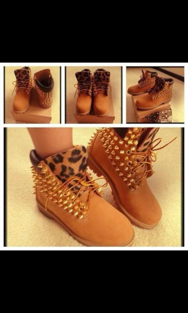 shoes tan studded timberlands leopard print leopard timberlands spiked studded timberlands