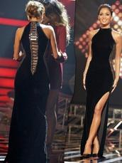 dress,nicole scherzinger,black,prom dress,bodycon dress,velvet,detailed back,long,slit dress,floor length