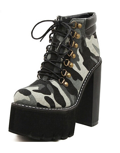 Shop high platform army camouflage boots
