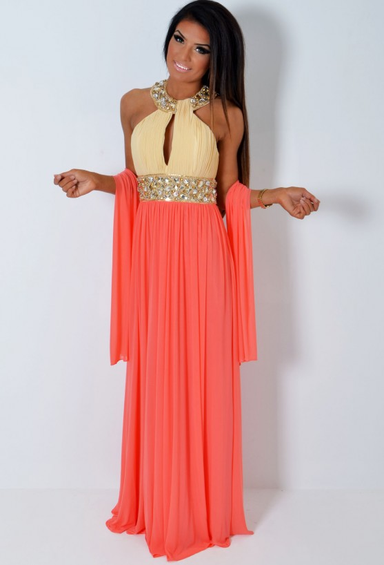 *VIP* Donna LUXE Super Embellished Peach & Cream Jewel Maxi Dress | Pink Boutique