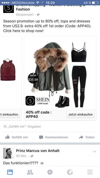 jacket fur coat fur army green coat shein