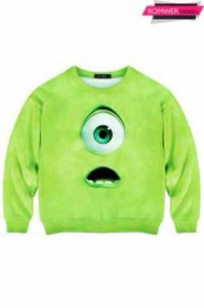 sweater green mike mike wazowski monsters monster monsters inc monsters university sweatshirt minions baby clothing yellow
