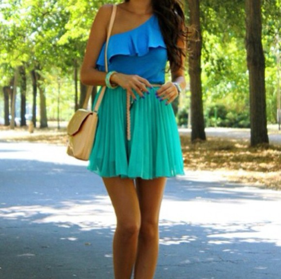 frills blue t-shirt skirt green