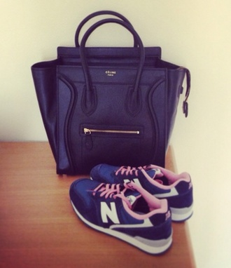 shoes new balance shoes pink blue grey celine sneakers bag