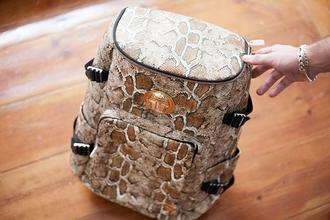 bag animal print hipster backpack snake print