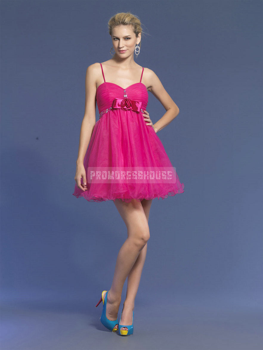Baby Doll Organza Spaghetti Straps Bowknot Beading Fuchsia Prom Dress - Promdresshouse.com