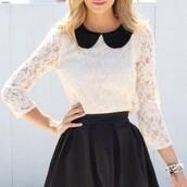 top,peter pan collar,white,lace top,style,fashion,black collar