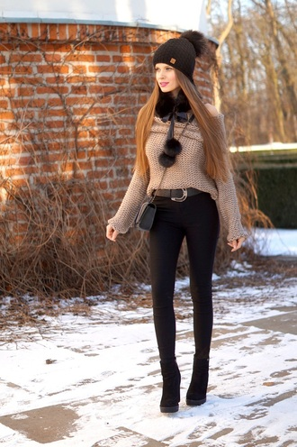 only my fashion style blogger sweater scarf hat bag beanie skinny jeans ankle boots winter outfits