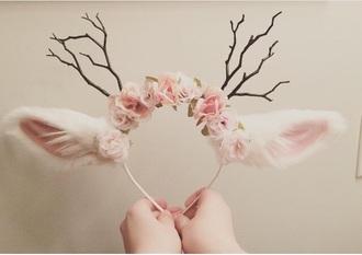 hair accessory crown antlers ears deer fluffy cute lovely kawaii flower crown