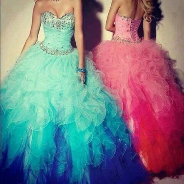 dress prom dress girly blue dress pink dress