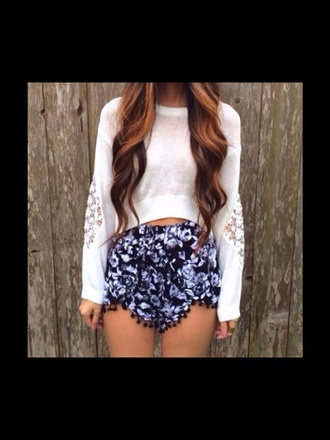 shorts shirt sweater floral lace