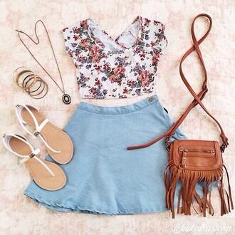 blouse floral tank top circle skirt fringed bag floral denim sandals denim skater skirt denim skirt light blue vintage skirt retro cute outfit shoes