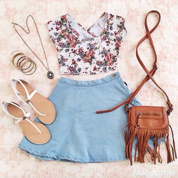 circle skirt cute shoes blouse denim denim skater skirt retro denim skirt floral tank top fringed bag floral sandals light blue vintage skirt outfit