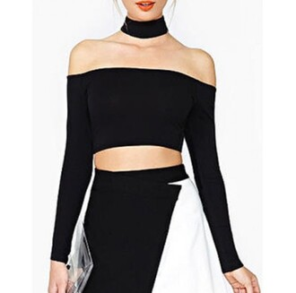 top girly goth black sexy goth hipster crop tops off the shoulder casual tumblr style