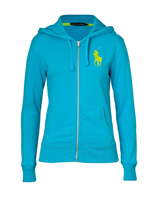 Del Ray Blue Cotton-Blend Beach Fleece Hoodie from RALPH LAUREN BLUE LABEL | Luxury fashion online | STYLEBOP.com