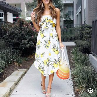 dress tumblr midi dress printed dress bag beach bag sandals wedges wedge sandals summer dress summer outfits shoes