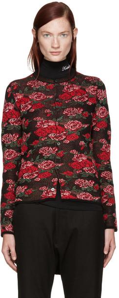 Comme Des Garçons Black Wool Floral Cardigan