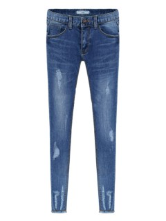 Blue distressed skinny jeans with fringed cuffs