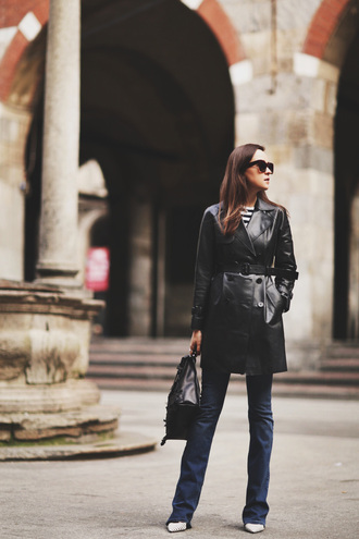 style scrapbook blogger jeans faux leather black coat