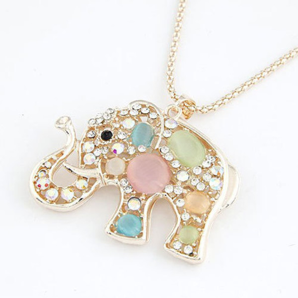 jewels necklace cute rhinestones elephant