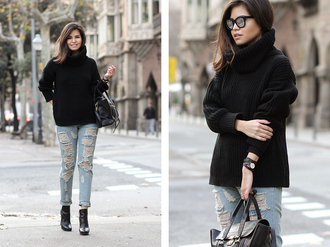 fake leather blogger sunglasses oversized turtleneck sweater black sweater winter sweater ripped jeans