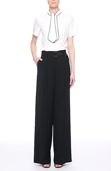 Nordstrom Signature and Caroline Issa Stretch Faille Belted Wide Leg Pants | Nordstrom
