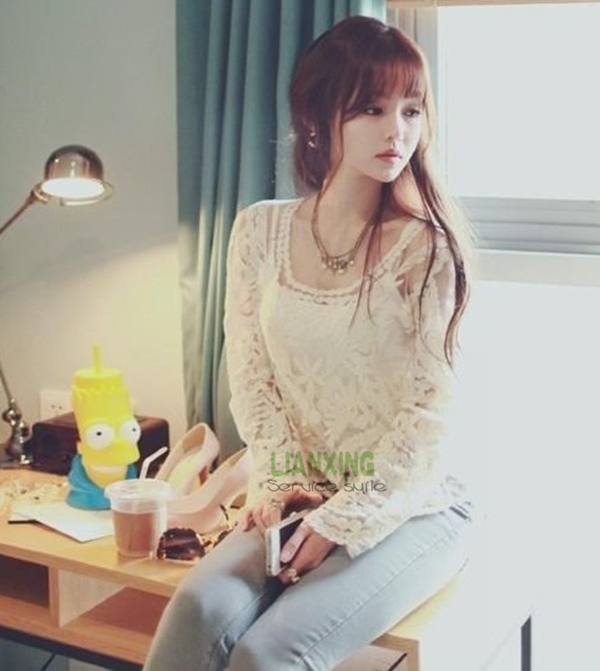 Ladies Sexy Sheer Long Sleeve Embroidery Floral Lace Crochet Tee T-Shirt Top | eBay