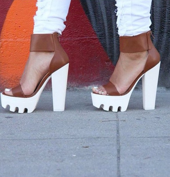 shoes heels chunky sole white jeans jeans ripped jeans high heels high heels pumps sparkly heels heels on gasoline