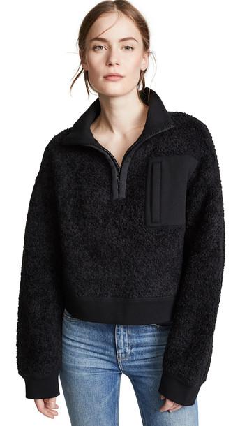 alexanderwang.t Fleece Half Zip Turtleneck in black