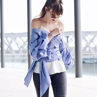 blouse ruched sleeve top summer off the shoulder storets