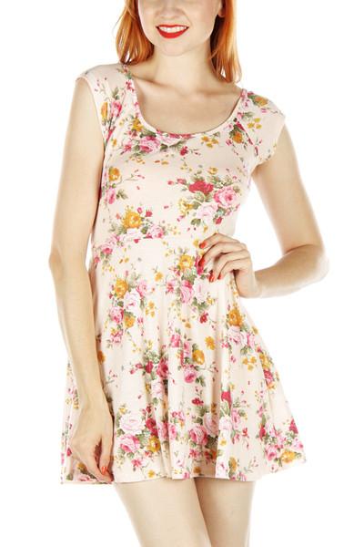 Cross back floral skater dress